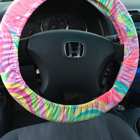 Steering Wheel Cover made with Lilly Pulitzer Spring 2015 Multi All Nighter Fabric