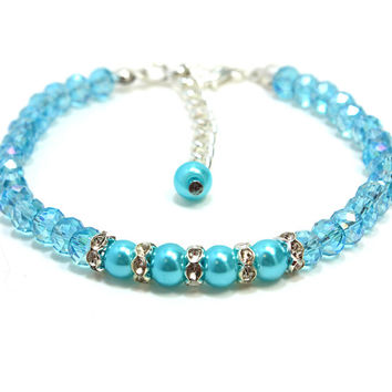 Light Blue Pearl and Crystal Dog Collar. Small Dog Collar. Collar for Cat. Blue Pearl and Blue Crystal Bead Toy Dog Collar. Small Beads