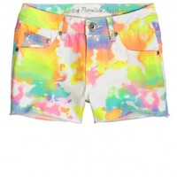 "Multicolor Dye Effect Denim Shorts | Girls Shorties 2½"" Inseam Shorts 