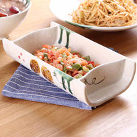 2016 Creative Features Tableware Ceramics And Bamboo Plates Home Soup Deep Plates Cutlery Rectangular Rice In Japanese Style