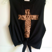 Customize Your Own Print Leopard Cross Crop Top Free Shipping