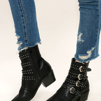 Fallon Black Belted Mid-Calf Boots