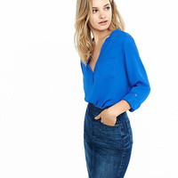 Notch Neck Pocket Blouse from EXPRESS