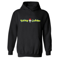 Pokemon Go series of velvet hooded sports sweater Yellow letters