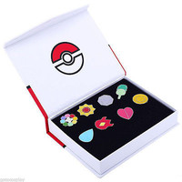 8pcs With Box Anime Pokemon Region Gym Badges SET Gen1 Indigo League Cosplay toy Pokemon League Pins Brooches Metal Figure Toys 001
