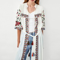Trendy Jastie Floral Embroidery Women Shirt Wide Sleeve Kimono Cardigan Jacket Boho Casual Beach Long Top 2018 Autumn Jackets Outerwear AT_94_13