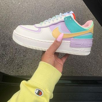 Nike WMNS Air Force 1 Shadow Hot Couple Style Colorblock Platform Casual Sneakers