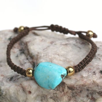 Stone and Braided Cord Bracelet, Turquoise