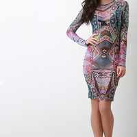 Abstract Boho Mesh Bodycon Dress