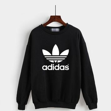 """""""Adidas"""" Fashion Casual Classic  Letter Print Couple Long Sleeve Sweater Tops"""