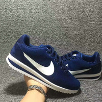 """""""NIKE"""" Cortez Forrest gump Casual Running Sport Shoes Sneakers knit Navy blue white hook"""