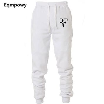 Mens Joggers Casual Roger Federer RF Pants Fitness Men Sportswear Tracksuit Bottoms Sweatpants Trousers Black Jogger Sweat Pants