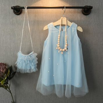 Baby Girls Pearly Blue Party Dress
