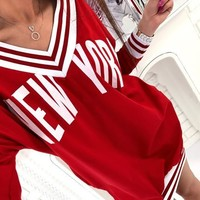 Casual Red Letter Pleated V-neck Long Sleeve Sports Loose Mini Dress
