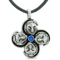 Supernatural Wolf Courage Powers All Forces of Nature Amulet Royal Blue Crystal Pendant Leather Necklace