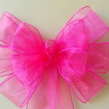 Hot Pink Bow, Sheer Bridal Shower Bow, Bachelorette Party Bow, Sweet 16, Quincenera Bow, Gift BowDoor Bow Mailbox Bow Decoration