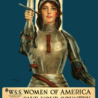 WWI Poster Joan Of Arc Saved France Women Of America, Save Your Country Buy War