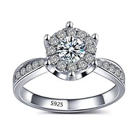 L'Amour 2.6 CT Cluster Set Simulated Diamond Solitaire Ring For Woman