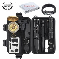 Tactical 10 in 1 survival Outdoor Camping tourism Survival Gear Kits Portable Emergency Survival Tools Whistle Compass Knife