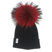 LUX FUR POM BEANIE BLACK WITH RED FUR