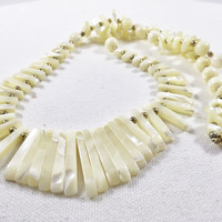 Mother of pearl necklace, ivory MOP bib necklace, shell and gold fan necklace, vintage mother of pearl