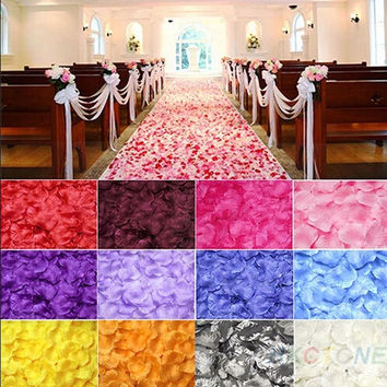 100pcs Chic Silk Rose Flower Petals Leaves Wedding Party Table Decorations  cheap = 1933048388