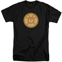 GREEN LANTERN/ORANGE SYMBOL-S/S ADULT TALL-BLACK