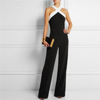 Cross Front Jumpsuits with Contrast Neckline