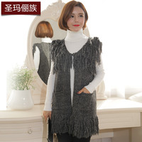 2016 New Arrival Fashion Women's Sweater Vest Solid V-Neck Sleeveless Tassel Pockets Hand Knitted Long Thick Sweater