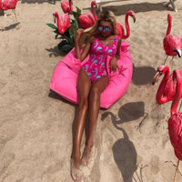 Fashion trend flamingo digital print swimsuit sexy one-piece suit