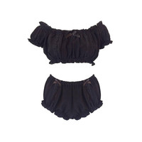 Black Magic Off the Shoulder Crop Top and Bloomers