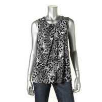 Anne Klein Womens Printed Gathered Pullover Top