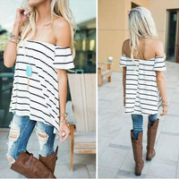 White Striped Off the Shoulder Blouse