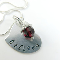 Hand stamped believe necklace