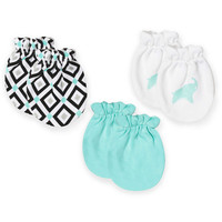 Jonathan Adler® Crafted by Fisher Price® 3-Pack Mitts in Aqua