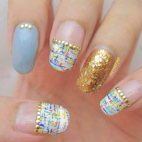 Crosshatch Hearts Patterns Water Decal Nail Art Stickers