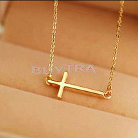 High Quality Horizontal Sideways Cross Gold/Silver Pendant Necklace Fashion Gift
