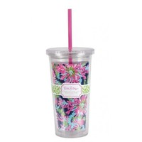 Lilly Pulitzer Tumbler with Straw, Trippin and Sippin, Navy - Kitchen Drinkware Cup Glass 142916-LGPLP