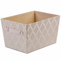 "Creative Scents Fabric Storage Bin, Galliana, Closet Organizer Box Basket Shelf with Faux Leather Handles for Portability - Sturdy Cardboard - Stylish Gift-Box, Room & Office Décor, 8""x 9.75"" x 13.75"""