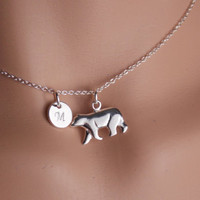 Bear Necklace, Polar Bear Charm, Silver Initial necklace, Bear Jewelry, Sterling Silver Necklace, Silver Bear, Personalize Women Teen