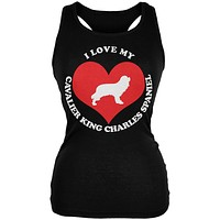 Valentines I Love My Cavalier King Charles Spaniel Black Juniors Soft Tank Top