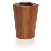 Bamboo Square Wood Bathroom Holder Standing Toothbrush Toothpaste Tumbler