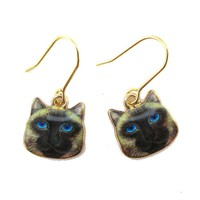 Small Siamese Kitty Cat Face Shaped Dangle Earrings   Animal Jewelry