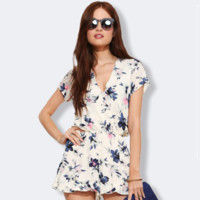 Fashion Floral Print High Waist V-Neck Short Sleeve Romper Jumpsuit Shorts