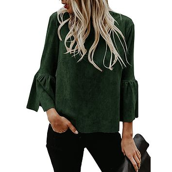 Kathemoi Womens Bell Sleeve Tops Suede Crew Neck Casual T Shirt Blouse Pullovers