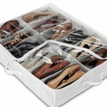Underbed White Shoe Bag - Clear Top