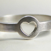 Silver Love Heart Ring, Handmade Silver Heart Ring, Teenage, Valentine, Christmas, Bridesmaid Earrings, Bridal, Wedding, Gift