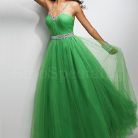 Beautiful A-line Straps Neckline Floor Length Tulle Graduation Dress from SinoSpecial