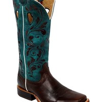 Twisted X Ruff Stock Turquoise Embroidered Cowgirl Boots - Square Toe - Sheplers