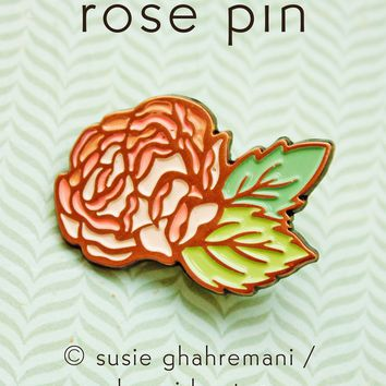 Rose Pin Set - Valentines Day Rose Enamel Pins - Wedding Lapel Pins